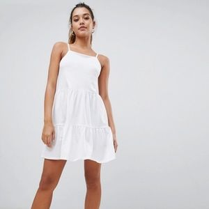 Asos tiered sun dress in white